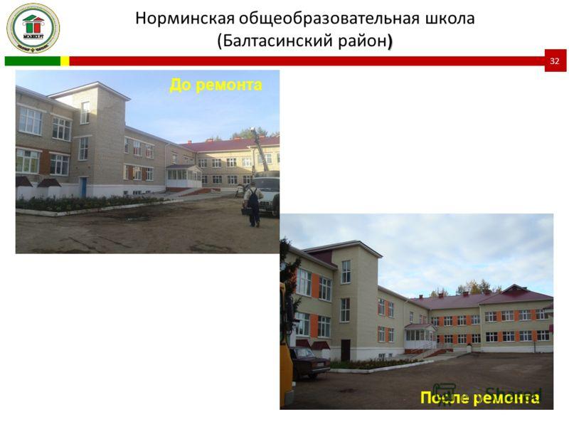 ) Норминская общеобразовательная школа (Балтасинский район ) 32 До ремонта После ремонта
