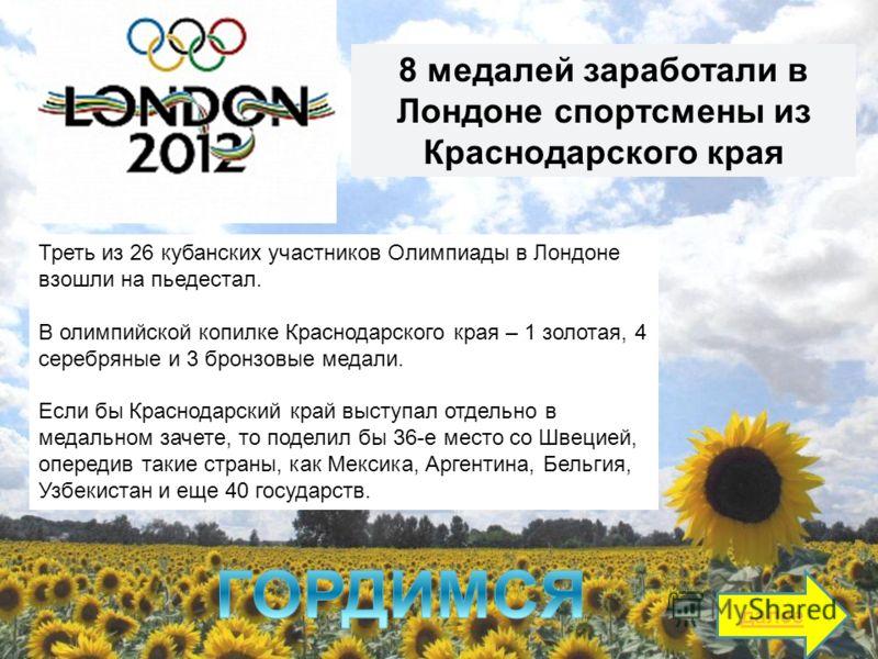 Треть из 26 кубанских участников Олимпиады в Лондоне взошли на пьедестал. В олимпийской копилке Краснодарского края – 1 золотая, 4 серебряные и 3 бронзовые медали. Если бы Краснодарский край выступал отдельно в медальном зачете, то поделил бы 36-е ме
