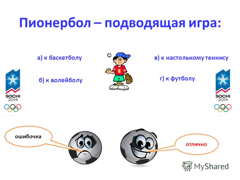 Пионербол – подводящая игра: отлично ошибочка а) к баскетболу б) к волейболу в) к настольному теннису г) к футболу ошибочка