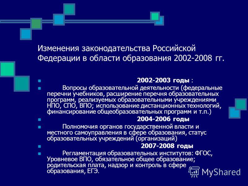 Изменения законодательства Российской Федерации в области образования 2002-2008 гг. 2002-2003 годы : Вопросы образовательной деятельности (федеральные перечни учебников, расширение перечня образовательных программ, реализуемых образовательными учрежд
