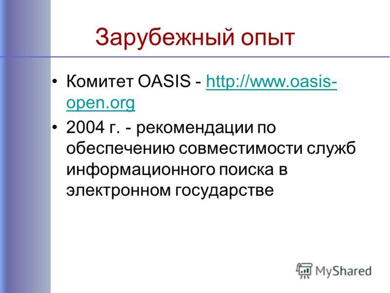 Зарубежный опыт Комитет OASIS - http://www.oasis- open.orghttp://www.oasis- open.org 2004 г. - рекомендации по обеспечению совместимости служб информационного поиска в электронном государстве