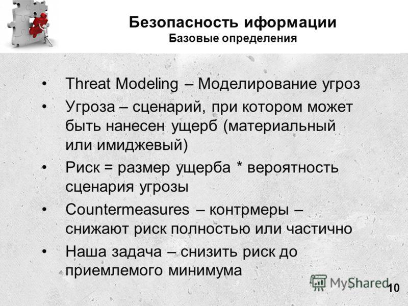 Безопасность иформации Базовые определения Threat Modeling – Моделирование угроз Угроза – сценарий, при котором может быть нанесен ущерб (материальный или имиджевый) Риск = размер ущерба * вероятность сценария угрозы Countermeasures – контрмеры – сни