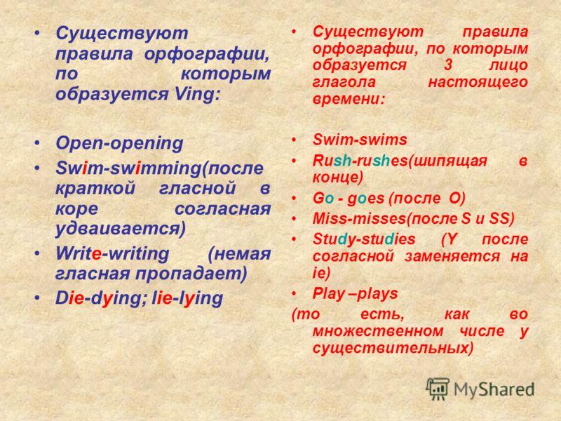 Существуют правила орфографии, по которым образуется Ving: Open-opening Swim-swimming(после краткой гласной в коре согласная удваивается) Write-writing (немая гласная пропадает) Die-dying; lie-lying Существуют правила орфографии, по которым образуетс