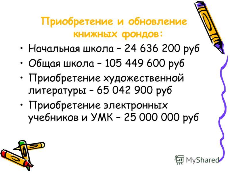 Приобретение и обновление книжных фондов: Начальная школа – 24 636 200 руб Общая школа – 105 449 600 руб Приобретение художественной литературы – 65 042 900 руб Приобретение электронных учебников и УМК – 25 000 000 руб