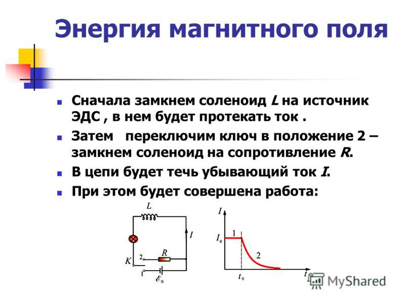 Энергия магнитного поля Сначала замкнем соленоид L на источник ЭДС, в нем будет протекать ток. Затем переключим ключ в положение 2 – замкнем соленоид на сопротивление R. В цепи будет течь убывающий ток I. При этом будет совершена работа: