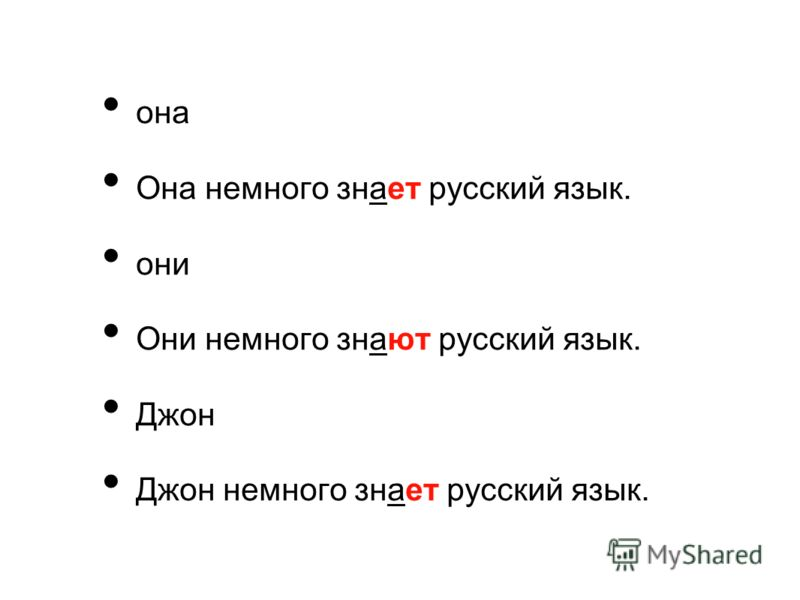она Она немного знает русский язык. они Они немного знают русский язык. Джон Джон немного знает русский язык.