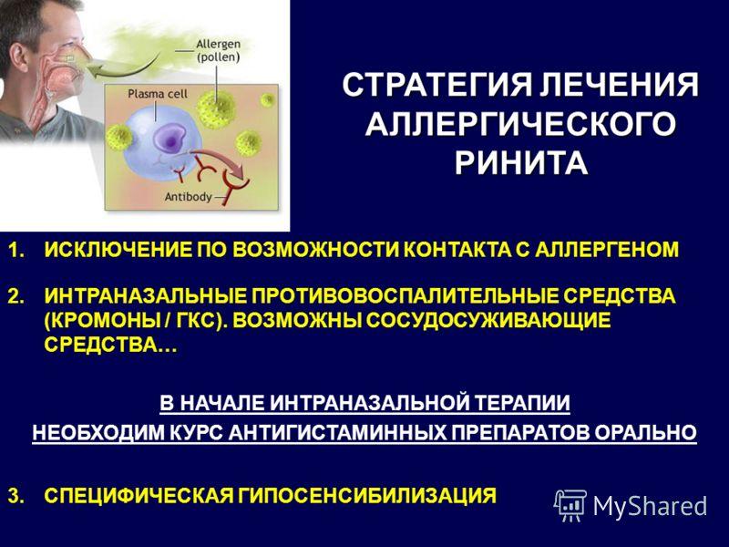 СТРАТЕГИЯ ЛЕЧЕНИЯ АЛЛЕРГИЧЕСКОГО РИНИТА 1.ИСКЛЮЧЕНИЕ ПО ВОЗМОЖНОСТИ КОНТАКТА С АЛЛЕРГЕНОМ 2.ИНТРАНАЗАЛЬНЫЕ ПРОТИВОВОСПАЛИТЕЛЬНЫЕ СРЕДСТВА (КРОМОНЫ / ГКС). ВОЗМОЖНЫ СОСУДОСУЖИВАЮЩИЕ СРЕДСТВА… В НАЧАЛЕ ИНТРАНАЗАЛЬНОЙ ТЕРАПИИ НЕОБХОДИМ КУРС АНТИГИСТАМИН