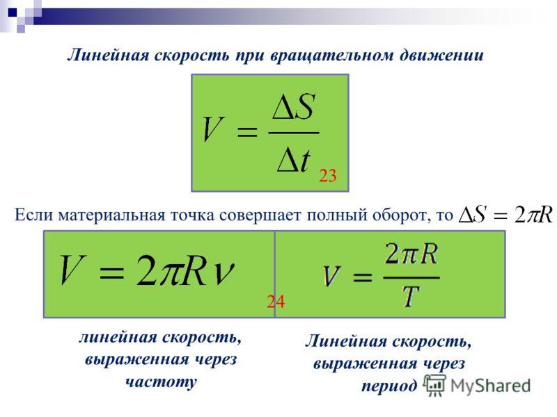 Линейная скорость при вращательном движении Если материальная точка совершает полный оборот, то 23 24 линейная скорость, выраженная через частоту Линейная скорость, выраженная через период
