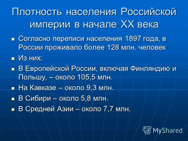 Плотность населения Российской империи в начале ХХ века Согласно переписи населения 1897 года, в России проживало более 128 млн. человек Согласно переписи населения 1897 года, в России проживало более 128 млн. человек Из них: Из них: В Европейской Ро