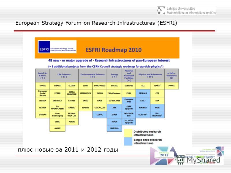 плюс новые за 2011 и 2012 годы European Strategy Forum on Research Infrastructures (ESFRI)
