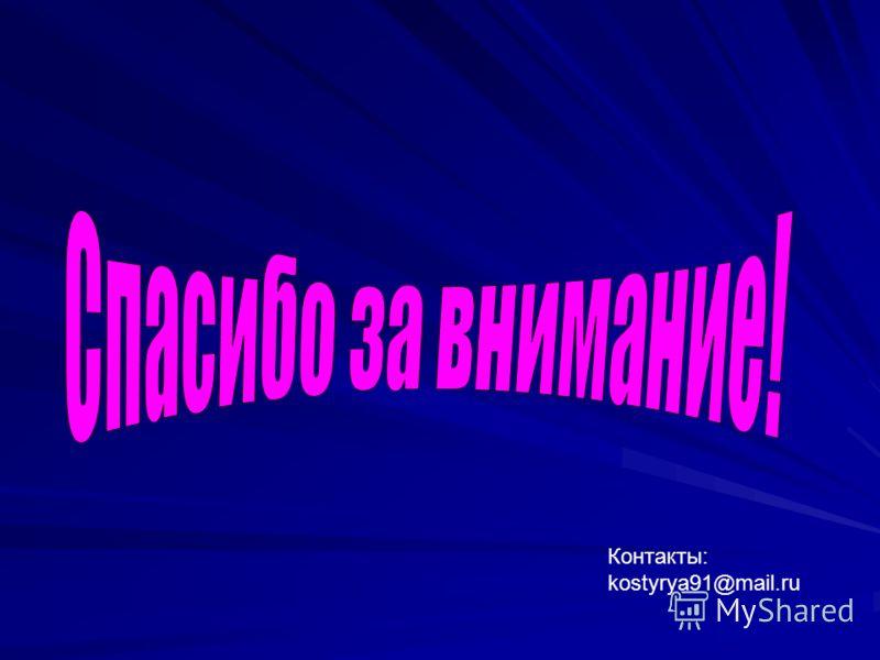 7 Контакты: kostyrya91@mail.ru