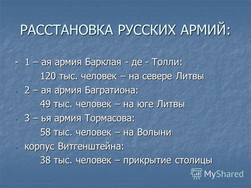 РАССТАНОВКА РУССКИХ АРМИЙ: - 1 – ая армия Барклая - де - Толли: 120 тыс. человек – на севере Литвы - 2 – ая армия Багратиона: 49 тыс. человек – на юге Литвы - 3 – ья армия Тормасова: 58 тыс. человек – на Волыни - корпус Витгенштейна: 38 тыс. человек