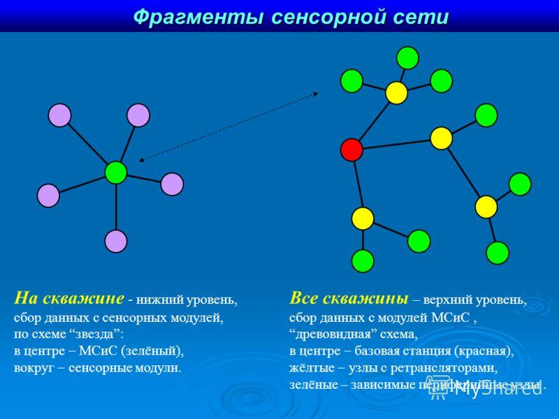 Фрагменты сенсорной сети На скважине - нижний уровень, сбор данных с сенсорных модулей, по схеме звезда: в центре МСиС (зелёный), вокруг сенсорные модули. Все скважины – верхний уровень, сбор данных с модулей МСиС, древовидная схема, в центре базовая