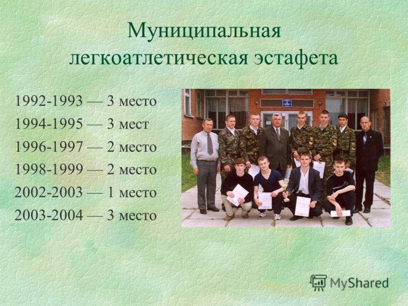 Муниципальная легкоатлетическая эстафета 1992-1993 3 место 1994-1995 3 мест 1996-1997 2 место 1998-1999 2 место 2002-2003 1 место 2003-2004 3 место