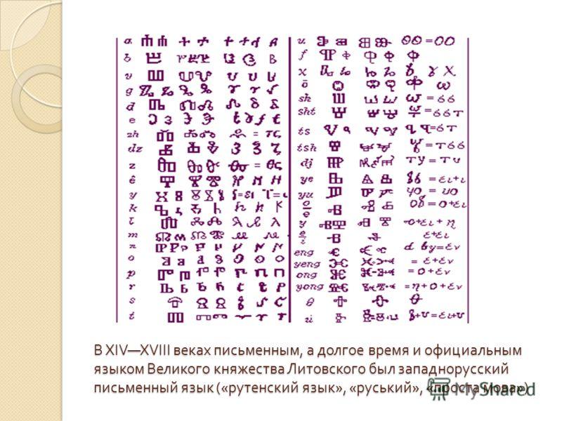 В XIVXVIII веках письменным, а долгое время и официальным языком Великого княжества Литовского был западнорусский письменный язык (« рутенский язык », « руський », « проста мова »)
