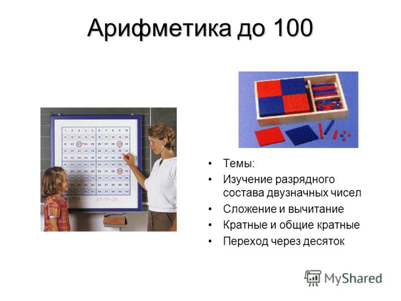 Арифметика до 100 Темы: Изучение разрядного состава двузначных чисел Сложение и вычитание Кратные и общие кратные Переход через десяток