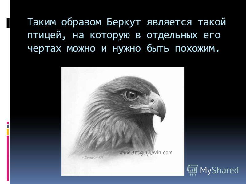 Таким образом Беркут является такой птицей, на которую в отдельных его чертах можно и нужно быть похожим.