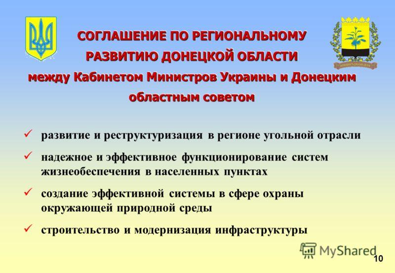 СОГЛАШЕНИЕ ПО РЕГИОНАЛЬНОМУ РАЗВИТИЮ ДОНЕЦКОЙ ОБЛАСТИ между Кабинетом Министров Украины и Донецким областным советом СОГЛАШЕНИЕ ПО РЕГИОНАЛЬНОМУ РАЗВИТИЮ ДОНЕЦКОЙ ОБЛАСТИ между Кабинетом Министров Украины и Донецким областным советом развитие и рестр