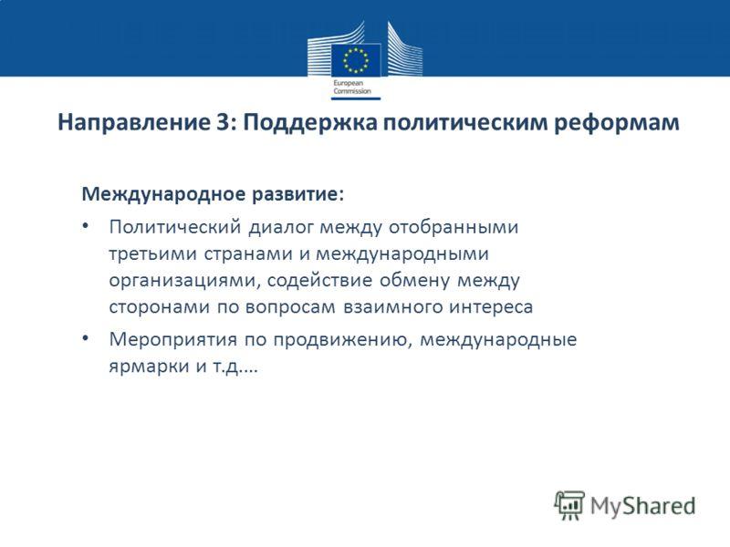 Направление 3: Поддержка политическим реформам Международное развитие: Политический диалог между отобранными третьими странами и международными организациями, содействие обмену между сторонами по вопросам взаимного интереса Мероприятия по продвижению
