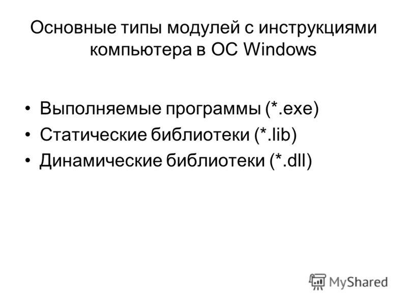 Основные типы модулей с инструкциями компьютера в ОС Windows Выполняемые программы (*.exe) Статические библиотеки (*.lib) Динамические библиотеки (*.dll)