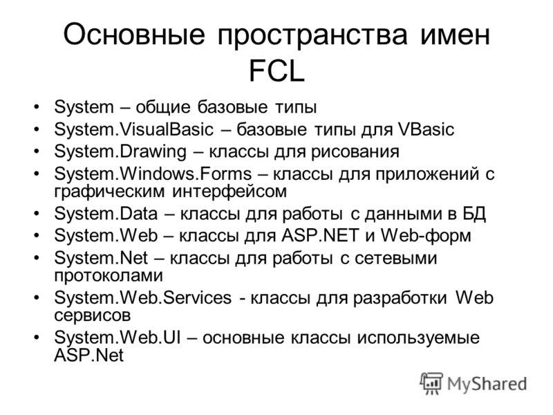 Основные пространства имен FCL System – общие базовые типы System.VisualBasic – базовые типы для VBasic System.Drawing – классы для рисования System.Windows.Forms – классы для приложений с графическим интерфейсом System.Data – классы для работы с дан