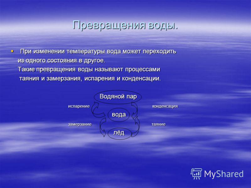 Превращения воды. Водяные пары превращаются в маленькие капельки воды, которые парят в воздухе. Это и есть туман. Водяные пары превращаются в маленькие капельки воды, которые парят в воздухе. Это и есть туман. Водяной пар, находящийся в воздухе и ест