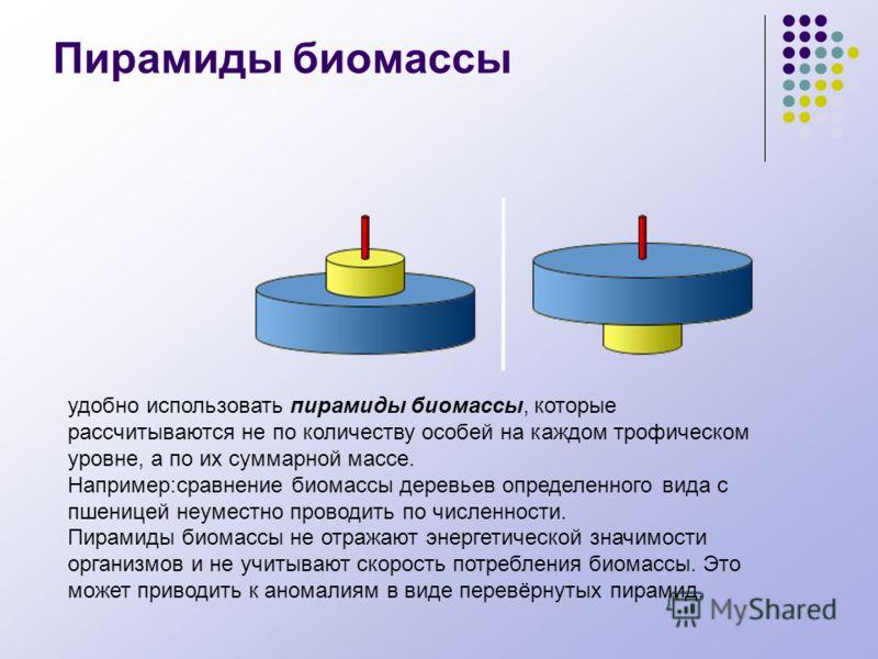 Пирамиды биомассы удобно использовать пирамиды биомассы, которые рассчитываются не по количеству особей на каждом трофическом уровне, а по их суммарной массе. Например:сравнение биомассы деревьев определенного вида с пшеницей неуместно проводить по ч