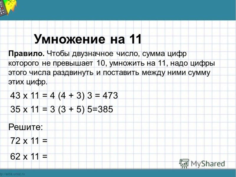 Умножение на 11 Правило. Чтобы двузначное число, сумма цифр которого не превышает 10, умножить на 11, надо цифры этого числа раздвинуть и поставить между ними сумму этих цифр. 43 х 11 = 4 (4 + 3) 3 = 473 35 х 11 = 3 (3 + 5) 5=385 Решите: 72 х 11 = 62