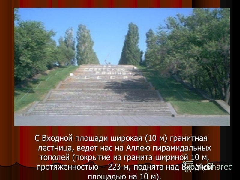 С Входной площади широкая (10 м) гранитная лестница, ведет нас на Аллею пирамидальных тополей (покрытие из гранита шириной 10 м, протяженностью – 223 м, поднята над Входной площадью на 10 м). С Входной площади широкая (10 м) гранитная лестница, ведет