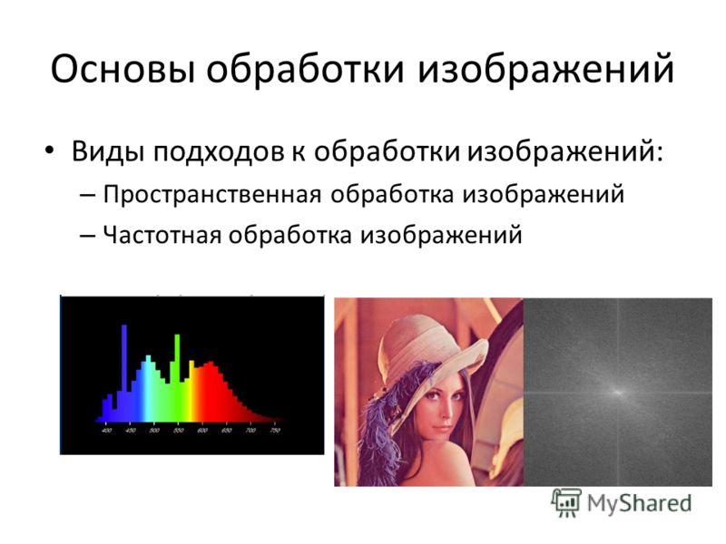 Основы обработки изображений Виды подходов к обработки изображений: – Пространственная обработка изображений – Частотная обработка изображений