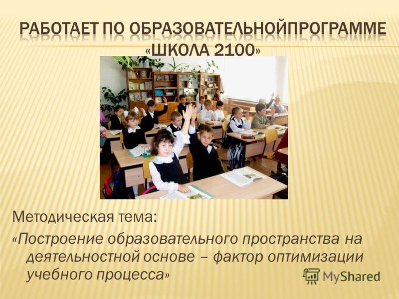 Методическая тема: «Построение образовательного пространства на деятельностной основе – фактор оптимизации учебного процесса»