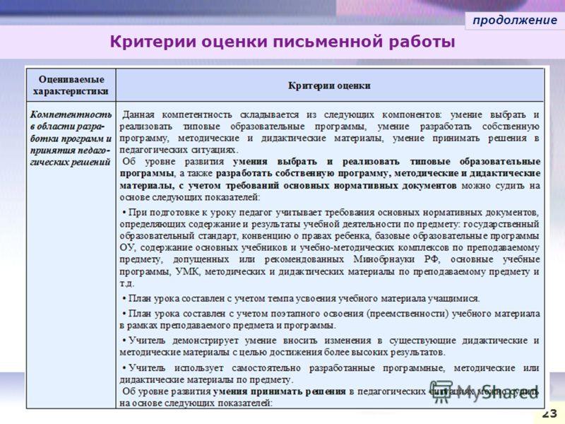 Критерии оценки письменной работы 23 продолжение