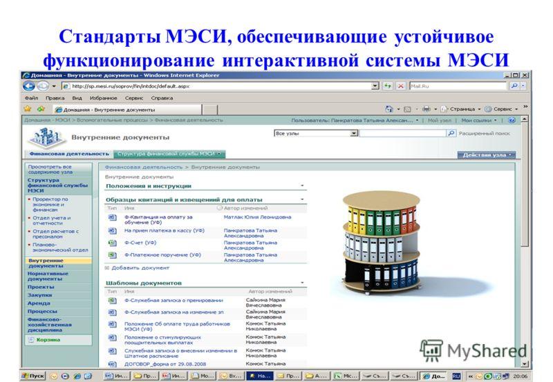 Стандарты МЭСИ, обеспечивающие устойчивое функционирование интерактивной системы МЭСИ 24