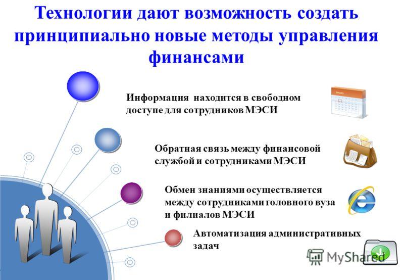 Технологии дают возможность создать принципиально новые методы управления финансами Информация находится в свободном доступе для сотрудников МЭСИ Обратная связь между финансовой службой и сотрудниками МЭСИ Обмен знаниями осуществляется между сотрудни