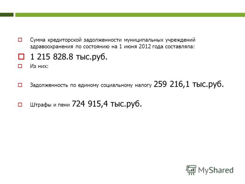 Сумма кредиторской задолженности муниципальных учреждений здравоохранения по состоянию на 1 июня 2012 года составляла: 1 215 828.8 тыс.руб. Из них: Задолженность по единому социальному налогу 259 216,1 тыс.руб. Штрафы и пени 724 915,4 тыс.руб.