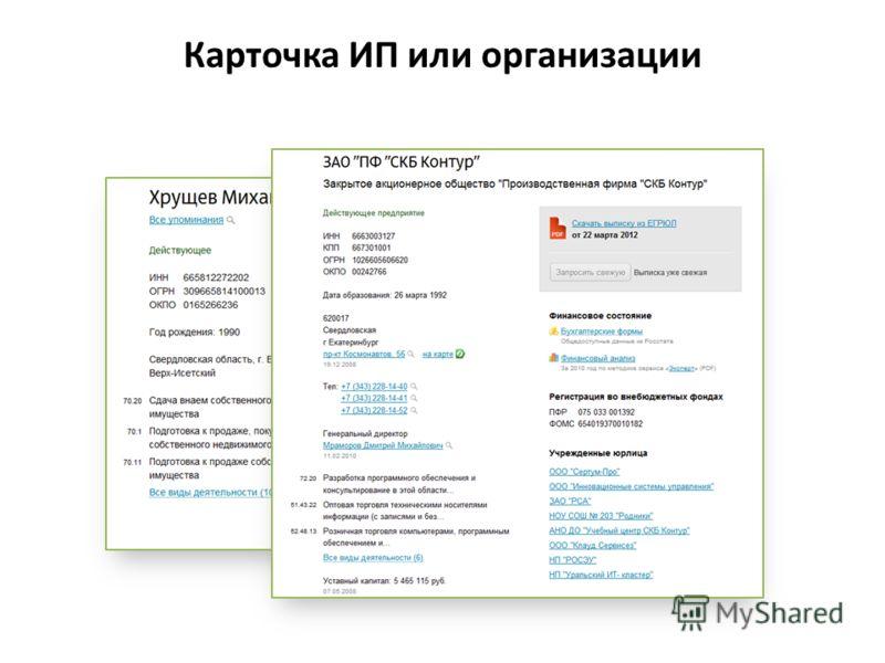 Карточка ИП или организации
