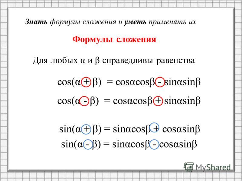 Знать формулы сложения и уметь применять их Формулы сложения Для любых α и β справедливы равенства cos(α + β) = cosαcosβ - sinαsinβ cos(α - β) = cosαcosβ + sinαsinβ sin(α + β) = sinαcosβ + cosαsinβ sin(α - β) = sinαcosβ - cosαsinβ