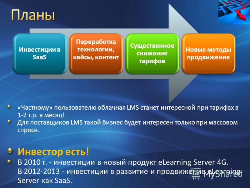 «Частному» пользователю облачная LMS станет интересной при тарифах в 1-2 т.р. в месяц! Для поставщиков LMS такой бизнес будет интересен только при массовом спросе. Инвестор есть! В 2010 г. - инвестиции в новый продукт eLearning Server 4G. В 2012-2013
