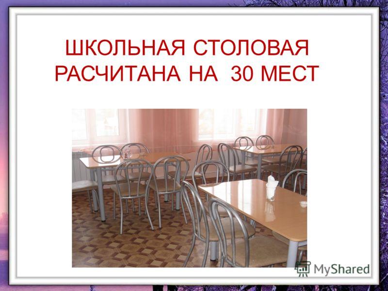 ШКОЛЬНАЯ СТОЛОВАЯ РАСЧИТАНА НА 30 МЕСТ