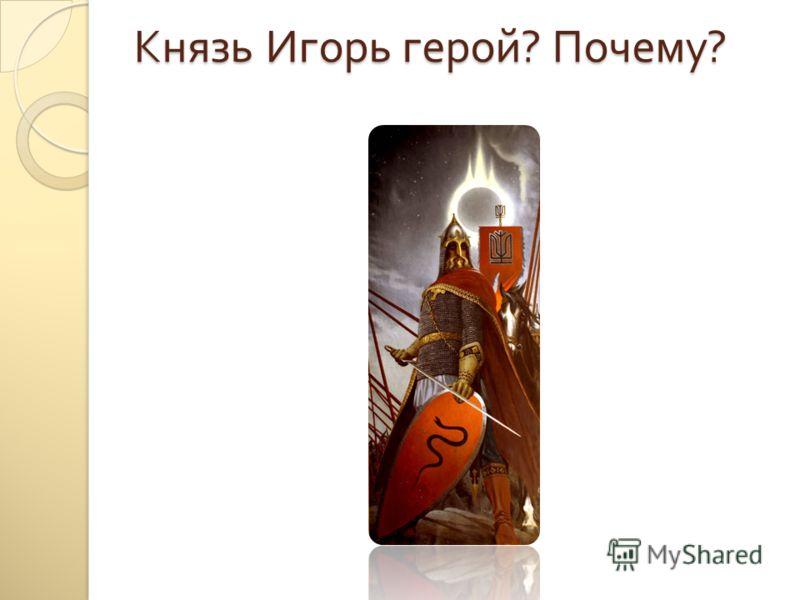 Князь Игорь герой ? Почему ?