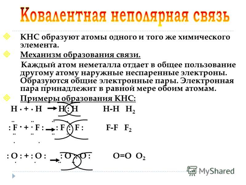 - это связь, возникающая между атомами за счет образования общих электронных пар. полярной неполярной. По степени смещенности общих электронных пар к одному из связанных ими атомов ковалентная связь может быть полярной и неполярной.