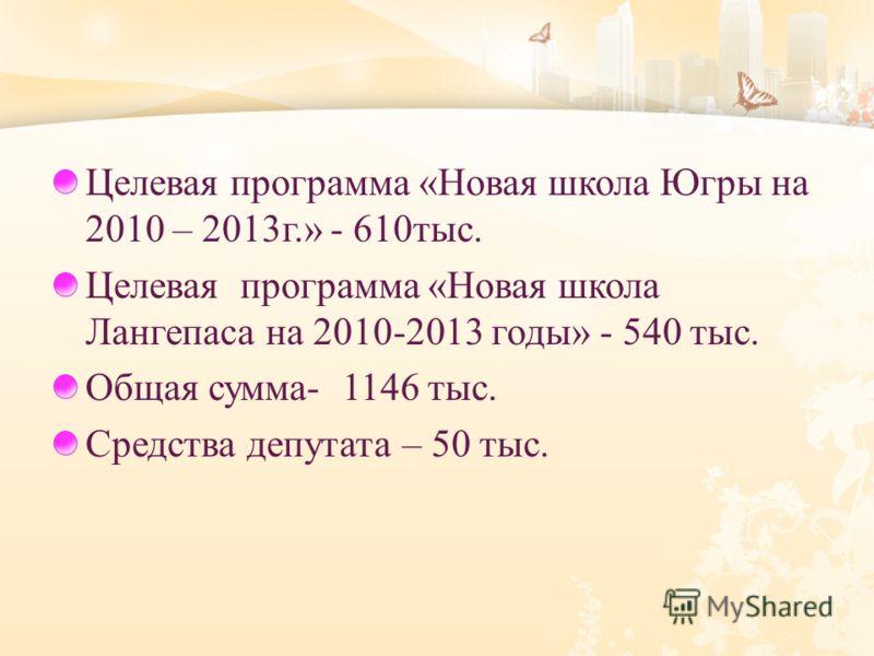 Целевая программа « Новая школа Югры на 2010 – 2013 г.» - 610 тыс. Целевая программа « Новая школа Лангепаса на 2010-2013 годы » - 540 тыс. Общая сумма - 1146 тыс. Средства депутата – 50 тыс.