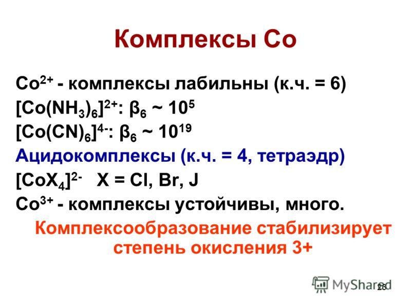 26 Комплексы Co Co 2+ - комплексы лабильны (к.ч. = 6) [Co(NH 3 ) 6 ] 2+ : β 6 ~ 10 5 [Co(CN) 6 ] 4- : β 6 ~ 10 19 Ацидокомплексы (к.ч. = 4, тетраэдр) [CoX 4 ] 2- X = Cl, Br, J Co 3+ - комплексы устойчивы, много. Комплексообразование стабилизирует сте