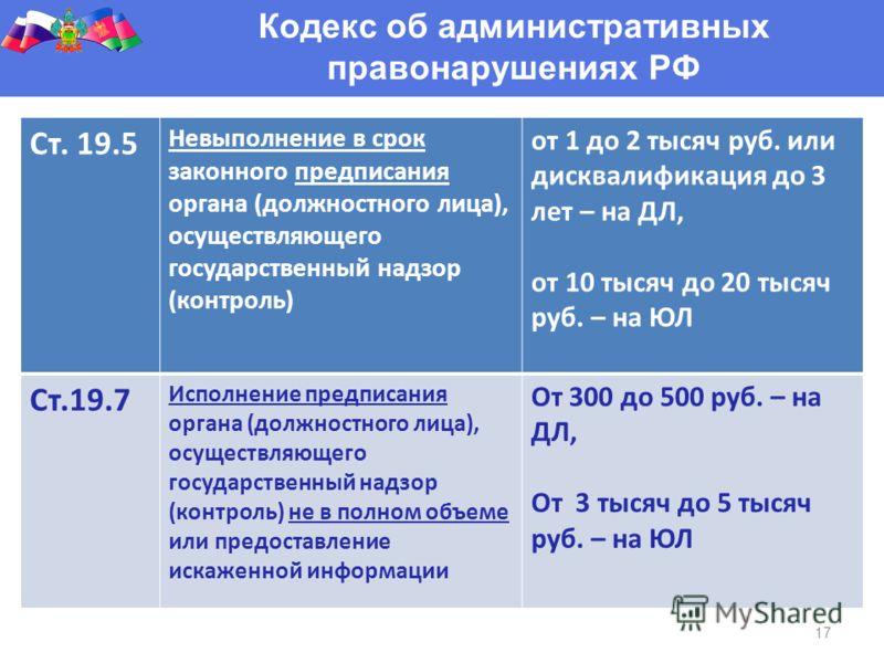 17 Кодекс об административных правонарушениях РФ Ст. 19.5 Невыполнение в срок законного предписания органа (должностного лица), осуществляющего государственный надзор (контроль) от 1 до 2 тысяч руб. или дисквалификация до 3 лет – на ДЛ, от 10 тысяч д