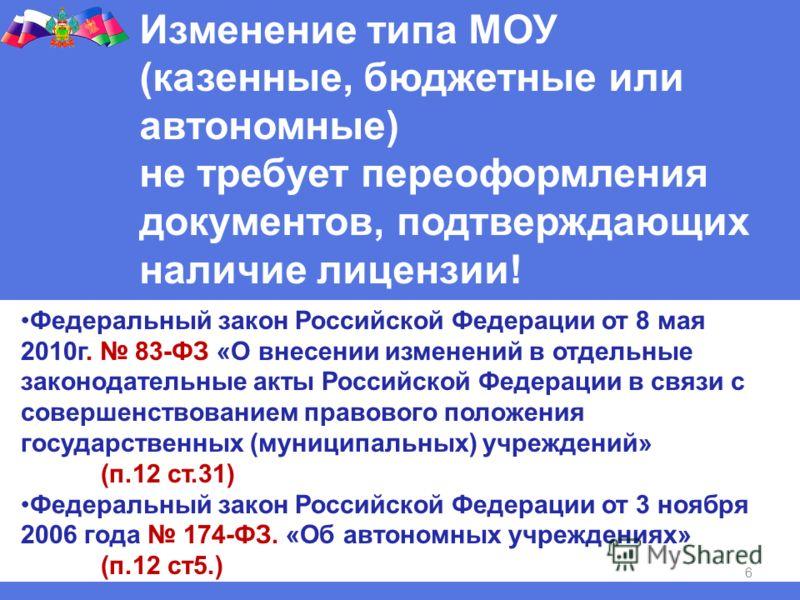 6 Изменение типа МОУ (казенные, бюджетные или автономные) не требует переоформления документов, подтверждающих наличие лицензии! Федеральный закон Российской Федерации от 8 мая 2010г. 83-ФЗ «О внесении изменений в отдельные законодательные акты Росси