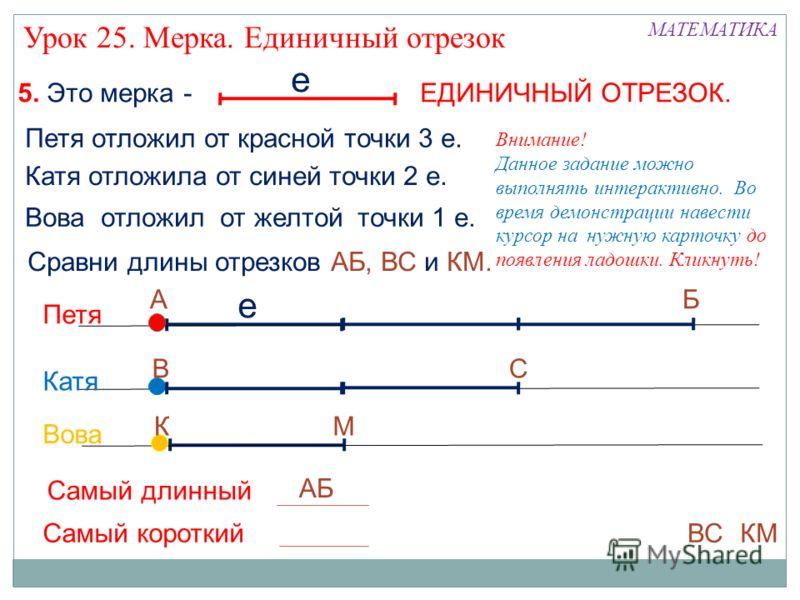 е МАТЕМАТИКА 5. Это мерка - ЕДИНИЧНЫЙ ОТРЕЗОК. Урок 25. Мерка. Единичный отрезок Петя отложил от красной точки 3 е. е Катя отложила от синей точки 2 е. Вова отложил от желтой точки 1 е. Сравни длины отрезков АБ, ВС и КМ. АБ М СВ К Петя Катя Вова АБ В