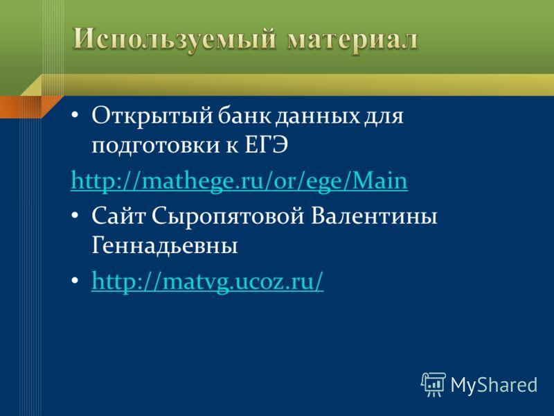 Открытый банк данных для подготовки к ЕГЭ http://mathege.ru/or/ege/Main Сайт Сыропятовой Валентины Геннадьевны http://matvg.ucoz.ru/