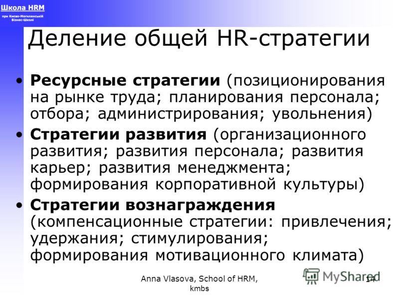 Anna Vlasova, School of HRM, kmbs 14 Деление общей HR-стратегии Ресурсные стратегии (позиционирования на рынке труда; планирования персонала; отбора; администрирования; увольнения) Стратегии развития (организационного развития; развития персонала; ра