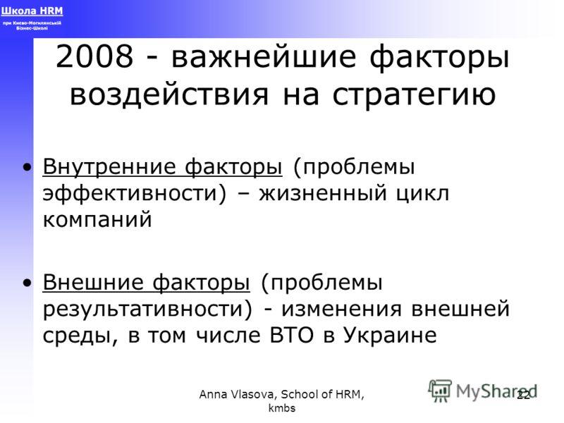 Anna Vlasova, School of HRM, kmbs 22 2008 - важнейшие факторы воздействия на стратегию Внутренние факторы (проблемы эффективности) – жизненный цикл компаний Внешние факторы (проблемы результативности) - изменения внешней среды, в том числе ВТО в Укра