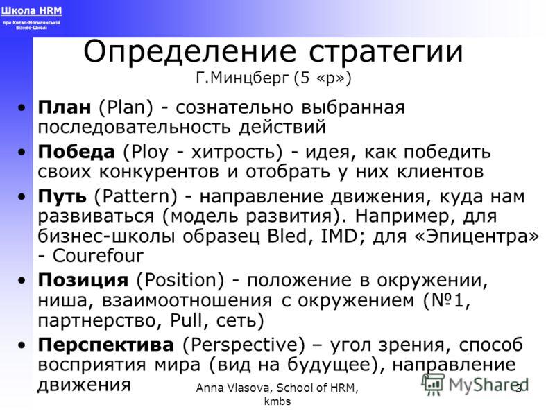 Anna Vlasova, School of HRM, kmbs 3 Определение стратегии Г.Минцберг (5 «р») План (Plan) - сознательно выбранная последовательность действий Победа (Ploy - хитрость) - идея, как победить своих конкурентов и отобрать у них клиентов Путь (Pattern) - на